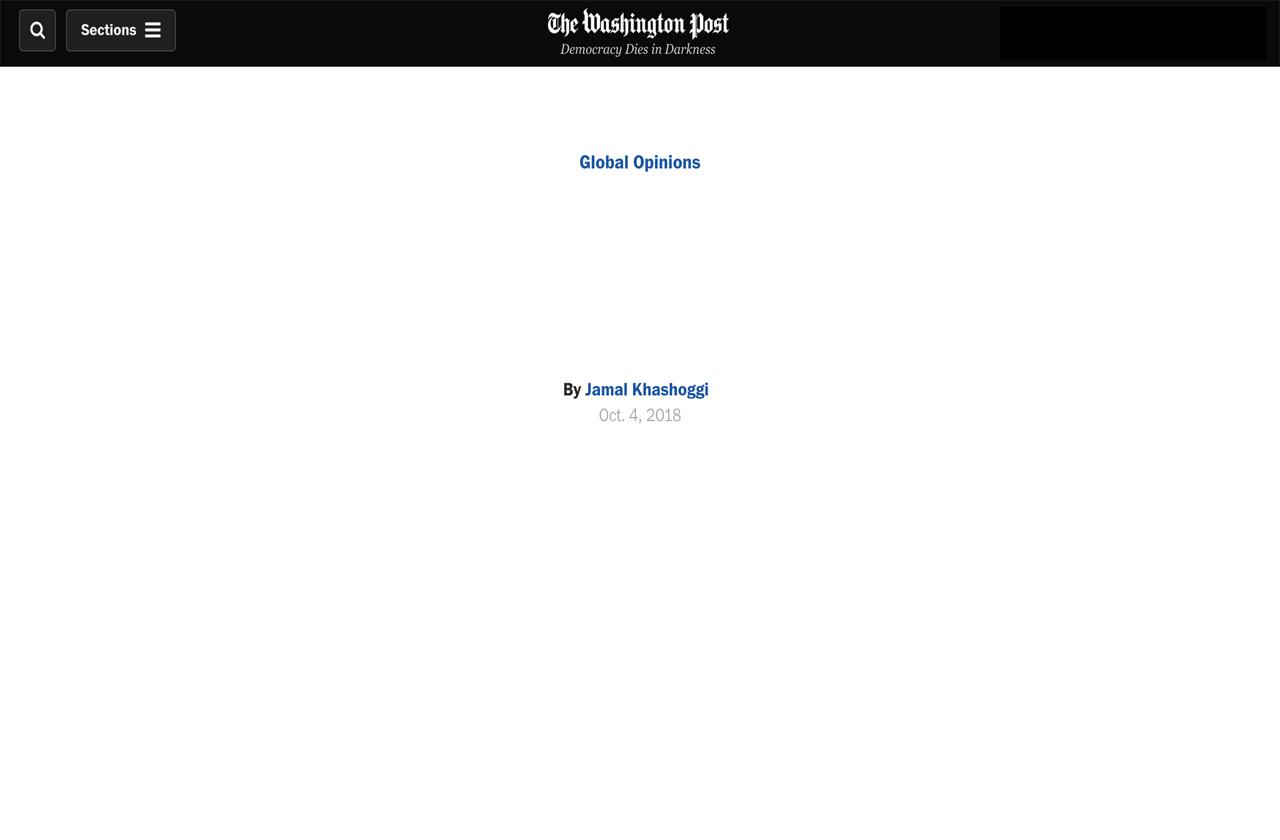 Jamal Khashoggi blank opinion washington post